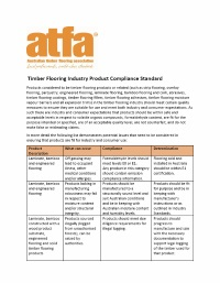 Timber Flooring Industry Product Compliance Standard